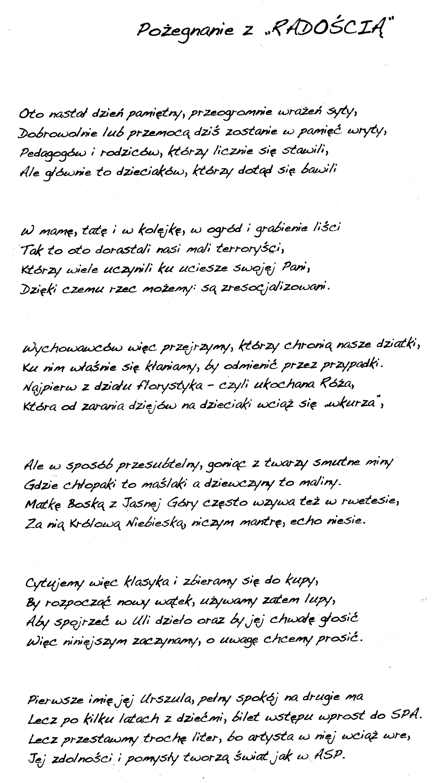 Wiersze Ułożone Przez Rodziców Starszaków Na Pożegnanie